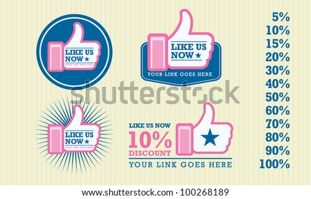 Facebook Like symbol art work for your website online business editable vector