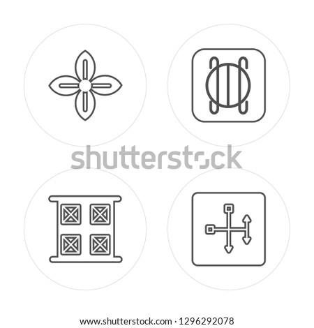 4 line Affluence, Year, Perseverance, Spirit modern icons on round shapes, Affluence, Year, Perseverance, Spirit vector illustration, trendy linear icon set.