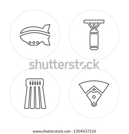 4 line Airship, Bowling, Punching bag, Baseball field modern icons on round shapes, Airship, Bowling, Punching bag, Baseball field vector illustration, trendy linear icon set.