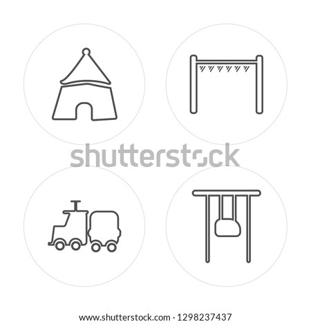 4 line Amusement park, Childhood, Playground, Childhood modern icons on round shapes, Amusement park, Childhood, Playground, Childhood vector illustration, trendy linear icon set.