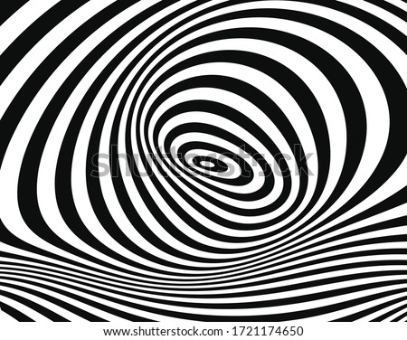 Line art optical art. Psychedelic background. Monochrome background. Optical illusion style. Black dark background. Modern pattern. Abstract graphic texture. Graphic ornament. Vector template Photo stock ©