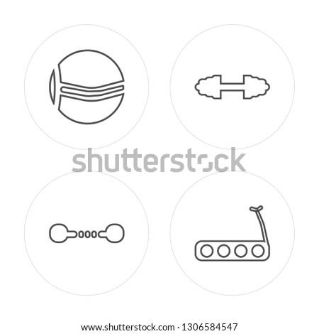 4 line Ball, Dumbbell, Dumbbell, Treadmill modern icons on round shapes, Ball, Dumbbell, Dumbbell, Treadmill vector illustration, trendy linear icon set.