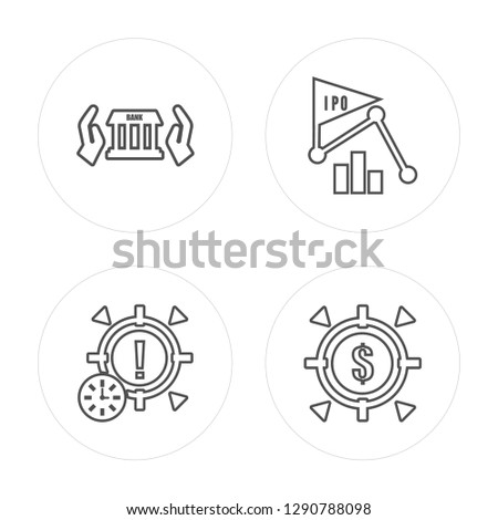 4 line Bank, Goal, Ipo, Goal modern icons on round shapes, Bank, Goal, Ipo, Goal vector illustration, trendy linear icon set.