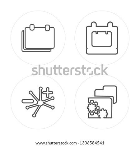 4 line Break, Group, Break, Properties modern icons on round shapes, Break, Group, Break, Properties vector illustration, trendy linear icon set.