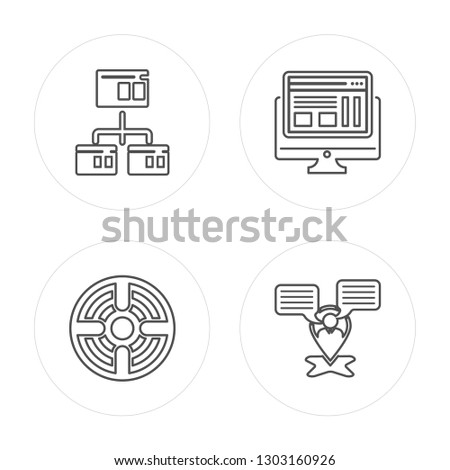 4 line Browser, Target, Browser, Placeholder modern icons on round shapes, Browser, Target, Browser, Placeholder vector illustration, trendy linear icon set.