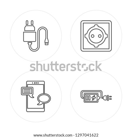 4 line Charger, Chat, Wall socket, Charger modern icons on round shapes, Charger, Chat, Wall socket, Charger vector illustration, trendy linear icon set.
