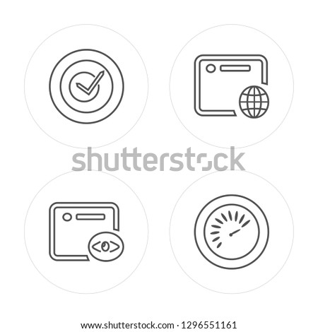4 line Check, Browser, Browser, Speedometer modern icons on round shapes, Check, Browser, Browser, Speedometer vector illustration, trendy linear icon set.
