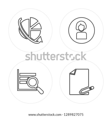 4 line Data, Analytics, Demographic, File modern icons on round shapes, Data, Analytics, Demographic, File vector illustration, trendy linear icon set.