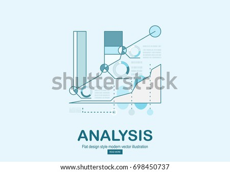 Line design template for analysis website banner. Vector illustration concept for business analysis, market research, data analysis.
