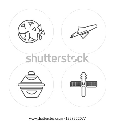 4 line Destroyed planet, Ufo, Space shuttle, Space station modern icons on round shapes, Destroyed planet, Ufo, Space shuttle, Space station vector illustration, trendy linear icon set.