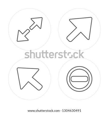 4 line Diagonal arrow, Minimize modern icons on round shapes, Diagonal arrow, Minimize vector illustration, trendy linear icon set.
