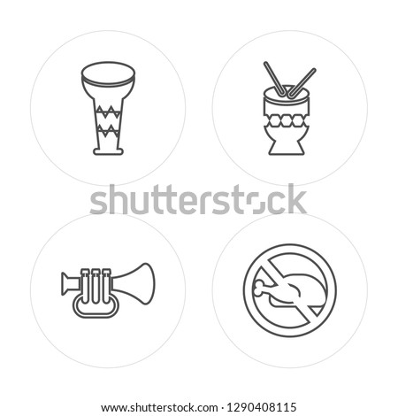 4 line Drum, Trumpet, Drum, Lent modern icons on round shapes, Drum, Trumpet, Drum, Lent vector illustration, trendy linear icon set.