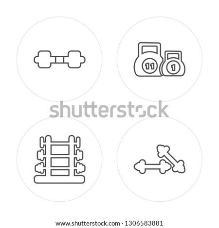 4 line Dumbbell, Dumbbell, Kettlebells, Dumbbells modern icons on round shapes, Dumbbell, Dumbbell, Kettlebells, Dumbbells vector illustration, trendy linear icon set.