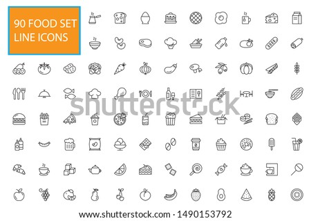 90 Line Food Icons Set Collection. Bakery, Seafood, Vegetables, Fruit, Coffee, Meat, Fastfood. Vector illustration eps10.