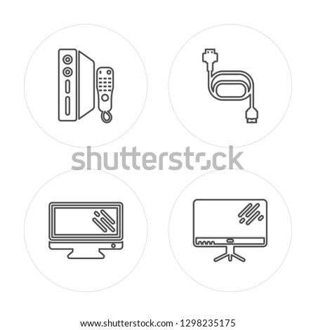 4 line Game console, Television, Charger, Television modern icons on round shapes, Game console, Television, Charger, Television vector illustration, trendy linear icon set.