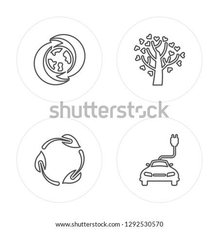 4 line Global recycling, Recycling, Tree with hearts modern icons on round shapes, Global recycling, Recycling, Tree with hearts, Eco energy power vector illustration, trendy linear icon set.