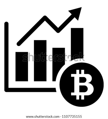 Line graph with upward arrow depicting bitcoin market update glyph icon