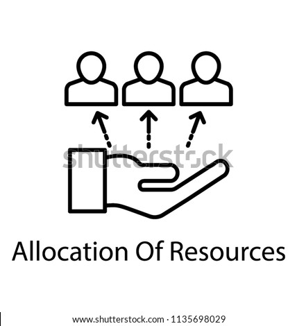 Line icon resource allocation. Resource management