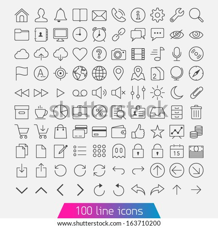 100 line icon set trendy thin