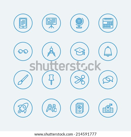 16 Line icons for Education school.Vector EPS10