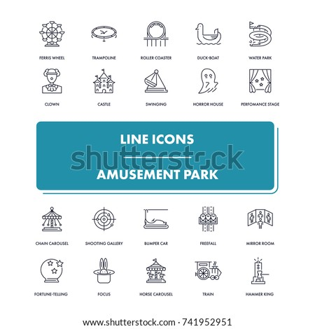 Line icons set. Amusement Park pack. Vector illustration for leisure and recreation. Fun and happiness