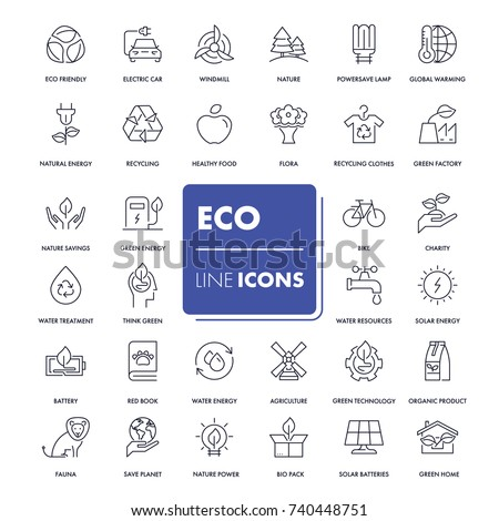 Line icons set. Eco pack. Vector illustration for green energy and ecology friendly life