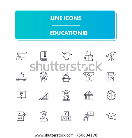 51. Line icons set. Education 1 pack. Vector illustration for studying, learning, teaching, Wisdom and knowledge.