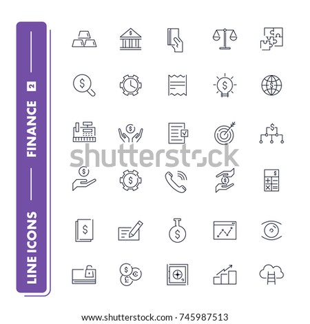 line icons set finance pack 2