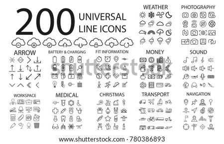 200  line icons set of weather