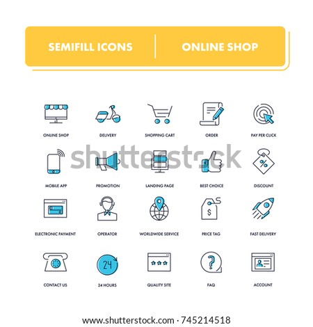 Line icons set. Online Shop pack. Vector illustration for e-commerce and e-trade