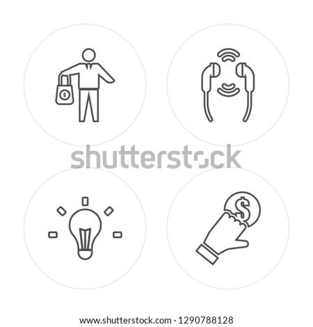 4 line Investment, Idea, Earphones, Crowdfunding modern icons on round shapes, Investment, Idea, Earphones, Crowdfunding vector illustration, trendy linear icon set.
