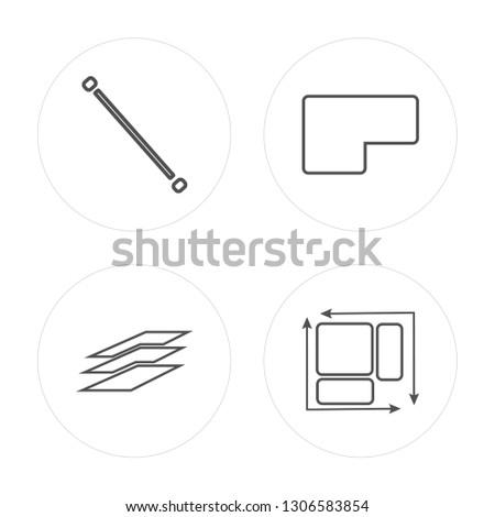 4 line Lengthen, Layer, Base, Dimension modern icons on round shapes, Lengthen, Layer, Base, Dimension vector illustration, trendy linear icon set.