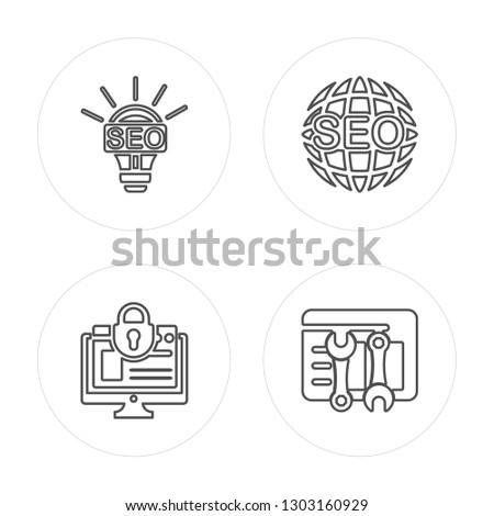 4 line Light bulb, Browser, Worldwide, Browser modern icons on round shapes, Light bulb, Browser, Worldwide, Browser vector illustration, trendy linear icon set.