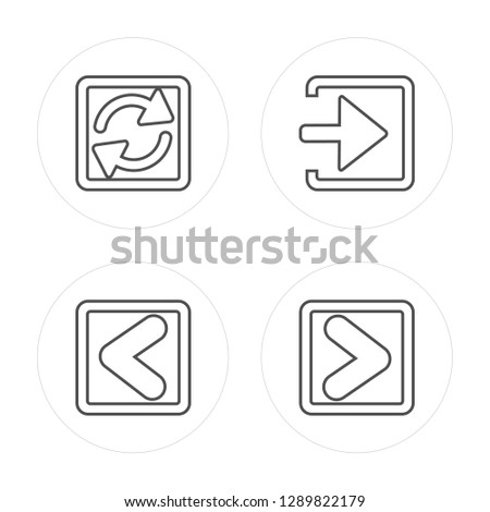 4 line Loading Arrows, Backward Arrow, Enter Left, Skip Track modern icons on round shapes, Loading Arrows, Backward Arrow, Enter Left, Skip Track vector illustration, trendy linear icon set.