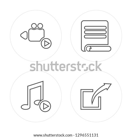 4 line Play button, Play button, Paper, Share modern icons on round shapes, Play button, Play button, Paper, Share vector illustration, trendy linear icon set.