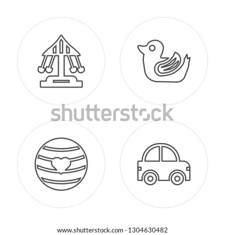 4 line Ride on toy, Ball toy, Duck toy, Car toy modern icons on round shapes,vector illustration, trendy linear icon set.