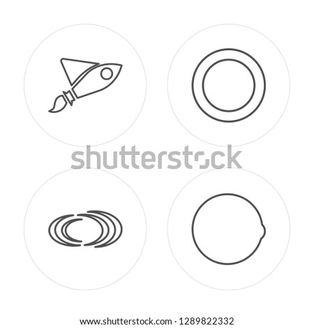 4 line Rocket ship, Black hole, Planet, Planet earth modern icons on round shapes, Rocket ship, Black hole, Planet, Planet earth vector illustration, trendy linear icon set.