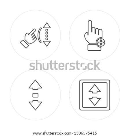4 line Scroll,Clicker, Scroll modern icons on round shapes,Scroll, Clicker, Scroll vector illustration, trendy linear icon set.