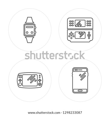 4 line Smartwatch, Game console, Game console, Smartphone modern icons on round shapes, Smartwatch, Game console, Game console, Smartphone vector illustration, trendy linear icon set.