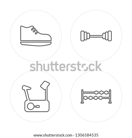 4 line Sneakers, Stationary bike, Dumbbell, Dumbbells modern icons on round shapes, Sneakers, Stationary bike, Dumbbell, Dumbbells vector illustration, trendy linear icon set.