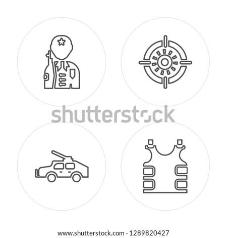 4 line Soldier, Military vehicle, Target, Bulletproof vest modern icons on round shapes, Soldier, Military vehicle, Target, Bulletproof vest vector illustration, trendy linear icon set.