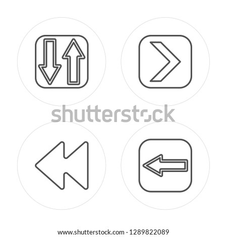 4 line Sort, Backward, Right arrow, Left arrow modern icons on round shapes, Sort, Backward, Right arrow, Left arrow vector illustration, trendy linear icon set.