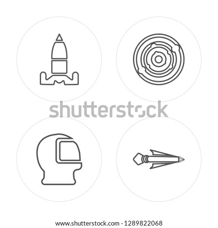 4 line Space shuttle, Space suit, Radar, Rocket ship modern icons on round shapes, Space shuttle, Space suit, Radar, Rocket ship vector illustration, trendy linear icon set.