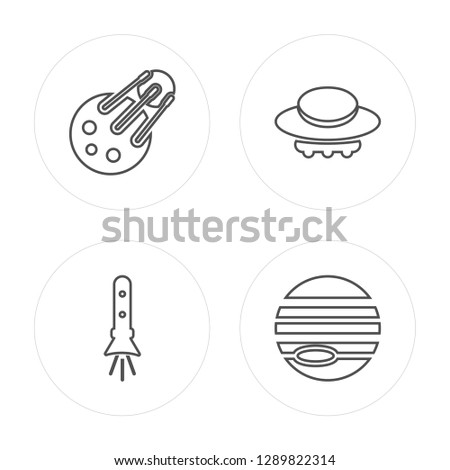 4 line Sputnik, Rocket Flying, Big UFO, Venus with Satellite modern icons on round shapes, Sputnik, Rocket Flying, Big UFO, Venus with Satellite vector illustration, trendy linear icon set.