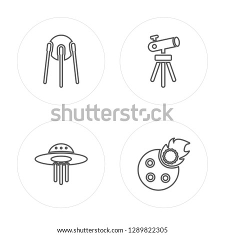 4 line Sputnik, UFO, Telescope Pointing Up, Meteorite Falling modern icons on round shapes, Sputnik, UFO, Telescope Pointing Up, Meteorite Falling vector illustration, trendy linear icon set.