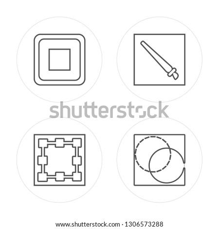 4 line Square, Bounding box, Brush, Background modern icons on round shapes, Square, Bounding box, Brush, Background vector illustration, trendy linear icon set.