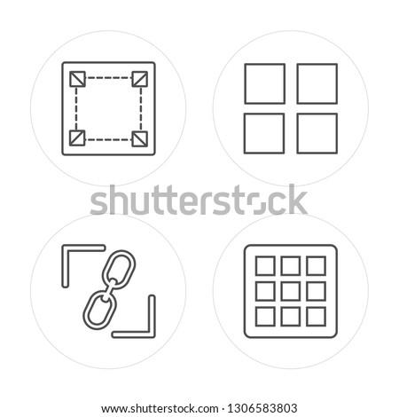 4 line Square, Constraint, Square, Grids modern icons on round shapes, Square, Constraint, Square, Grids vector illustration, trendy linear icon set.