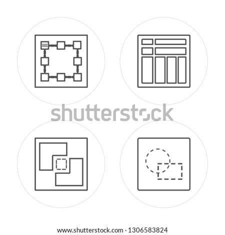 4 line Square, Crop, Square, Circular modern icons on round shapes, Square, Crop, Square, Circular vector illustration, trendy linear icon set.