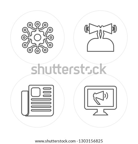 4 line Strategy, Newspaper, Promotion, Promotion modern icons on round shapes, Strategy, Newspaper, Promotion, Promotion vector illustration, trendy linear icon set.