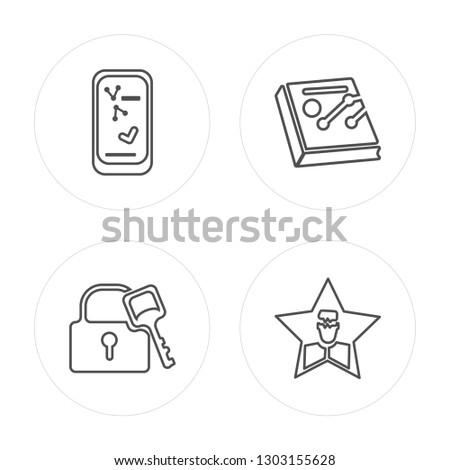 4 line Success, Success, Line graph, Celebrity modern icons on round shapes, Success, Success, Line graph, Celebrity vector illustration, trendy linear icon set.